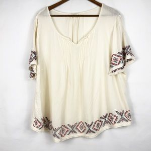 SONOMA Cream Embroidered Blouse in Size 3X